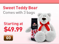 Sweet Teddy Bear. Three bags of your favorite candies with an unbearably cute gift. Starting at $49.99