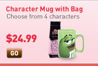 Character Mug with Bag. Choose from 4 characters. Starting at $24.99